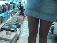 No Panties Upskirt In Perfume Store