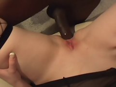 Plump busty blonde gets a big black cock up her tight ass