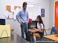 InnocentHigh Tall schoolgirl teen Scarlet Banks classroom fucked