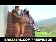 Sexy natural-tit brunette Karina White rides big-dick outdoors