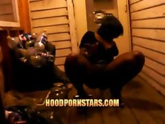 black hood ghetto Pissy Bitch showing her pussy