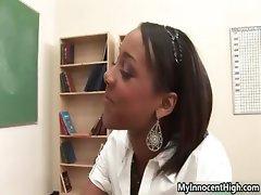 Hot ebony babe gets horny stripping