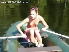 Amateur polish Natasha in the boat