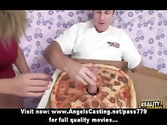 Amateur amazing sexy blonde slut talking with the pizza boy in the living room
