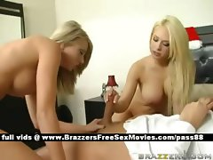 Two amazing busty blonde babes in bed get a blowjob