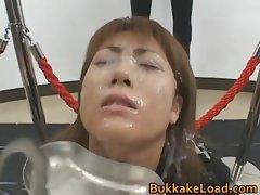 Crazy Asian model in hot bukkake action