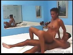 Horny shemale getting naughty on bed