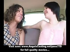 Gorgeous blonde and brunette lesby girls kissing and undressing in car