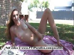 Vanessa tender blonde masturbating outdoor