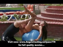 Amazing brunette babe with big tits doing blowjob and gets fucked by a huge cock
