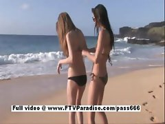 Faye and Larysa funny lesbians flashing on the beach