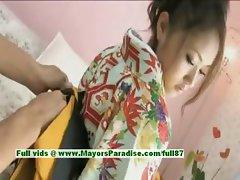 Iori Mizuki innocent lovely japanese girl gets nipples licked and posing
