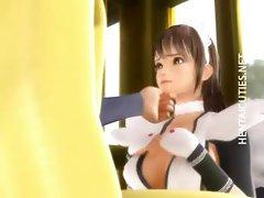 Kinky 3D hentai maid sucking cock