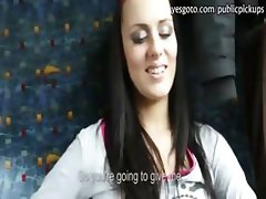 Pretty amateur eurobabe payed for hardcore fucking on a train