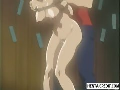 Bound hentai girl sucks and fucked