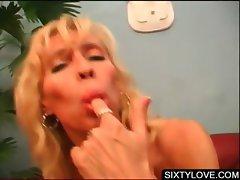 Mature blondies take dicks in 4some