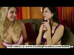 Shyla Jennings and Natalie Vegas amateur busty lesbians undressing and licking
