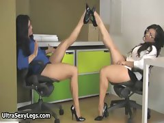 Two super hot brunette babes getting