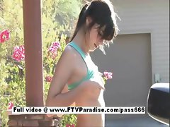 Awesome girl Chole brunette girl outdoors posing