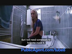 Blonde hussy gets some action from a stranger in the bathroom and bedroom
