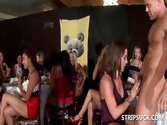 Sexy stripper gives lapdance at orgy