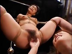 Asian girl gets tied up and played with by horny mistress