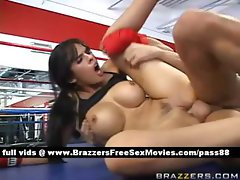 Amateur naked brunette slut on the boxing ring