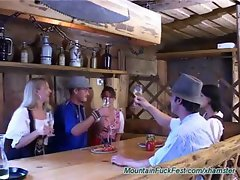 Bavarian mountain fuck fest orgy with babes getting pounded