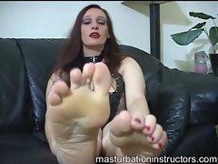 Kinky lingerie redhead foot fetish fun