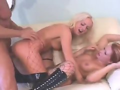 Bitches in latex boots fucked in threesome