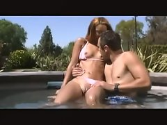 Skinny Latina bikini girl sucks his cock