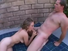 Cute curvy chick stripped and sucking dick outdoors