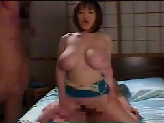Huge naturals on a Japanese cock riding girl