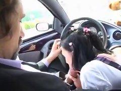 Schoolgirl sucks him in car and they fuck in bed