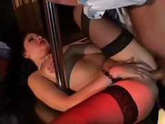 Cramming a stripper in the asshole