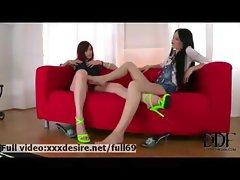 Two horny lesbians loving feet