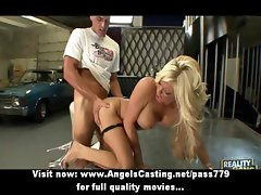 Naughty naked blonde riding cock and fucking hard in the garage