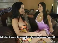 Hot brunette girl at home with her husband