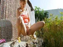 Peeing of beautiful russian coed