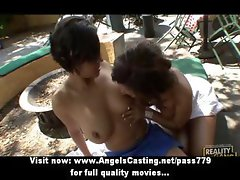 Sweet and hot lesbian couple undressing and licking pussy outdoors