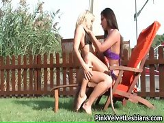 Hot blonde and brunette lesbians get part1
