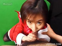 Shy asian girl blowing hairy cock on knees