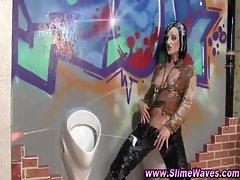 Bukkake drenched gloryhole slut loves getting wam