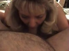 Mature blonde wife blows chubby hubby