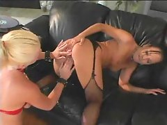 Two very hot stockings sluts in threesome