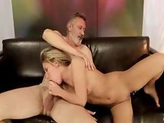 Teen with tiny tits and old man going hard