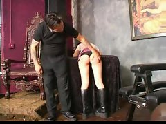 Her ass turns red after hot spanking
