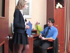 Secretary delivers her asshole for his pleasure