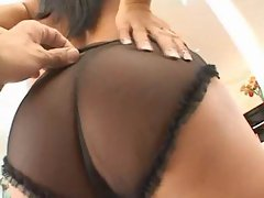 Asian slut taking black cock on the couch