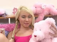 Pink room is home to a blonde slut for cock